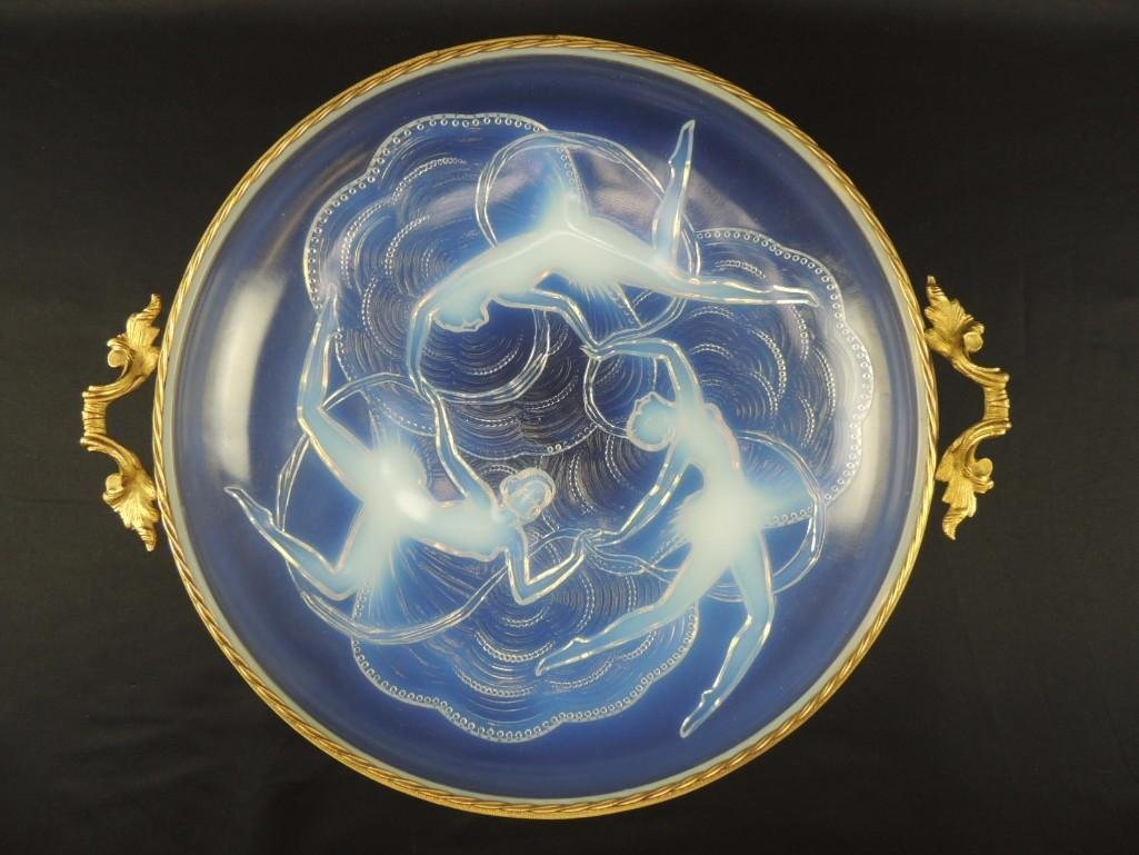 Opalescent Nude Women Dancing Lalique Style Bowl with