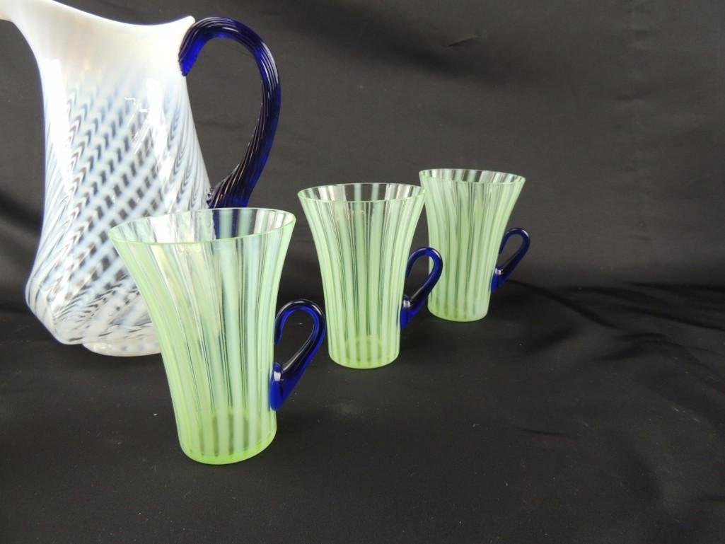 Fenton White Swirl with Blue Handle Pitcher with 6 - 2