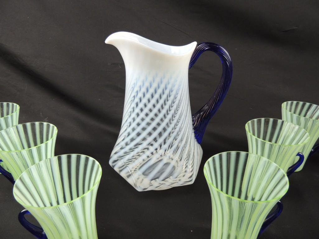 Fenton White Swirl with Blue Handle Pitcher with 6 - 3