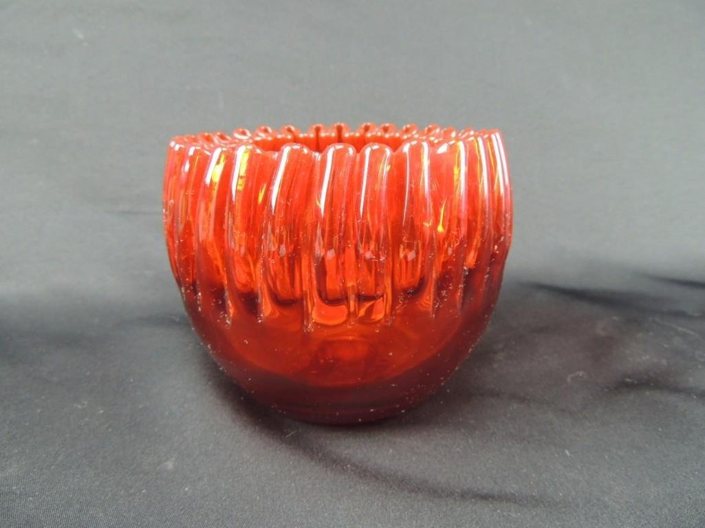 Antique Red Blown Glass Ribbon Edge Rose Bowl - 2