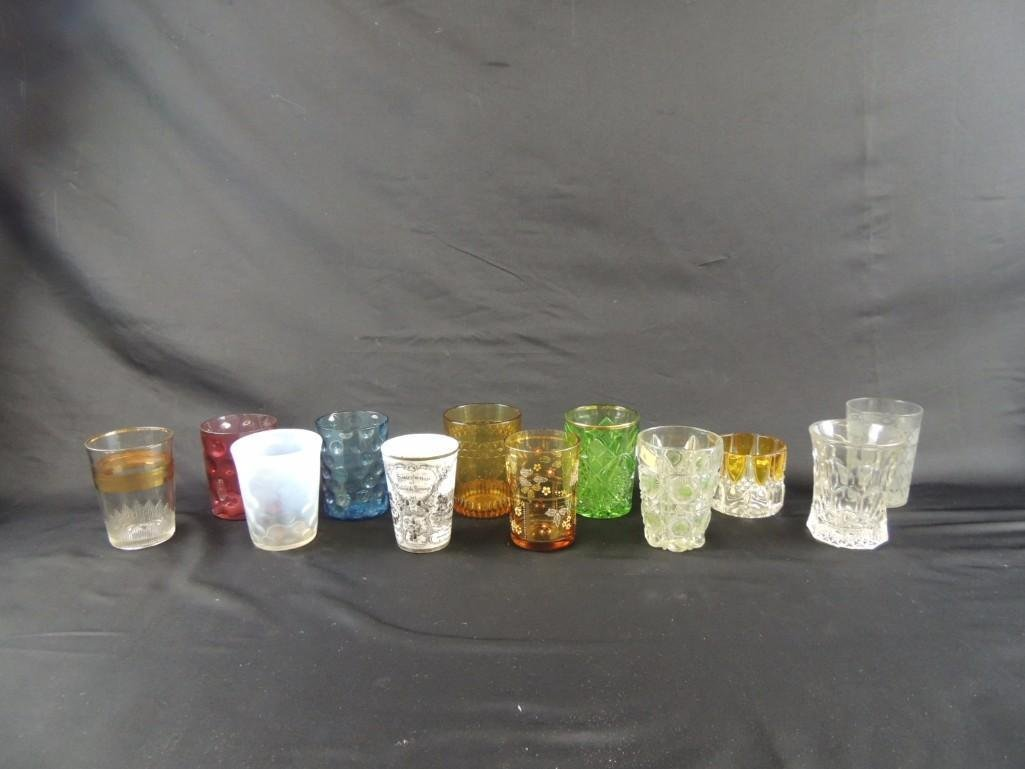 Group of 12 Vintage Glass Tumblers Featuring Coin Dot,