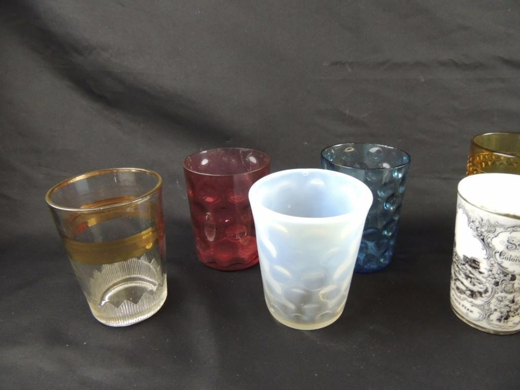 Group of 12 Vintage Glass Tumblers Featuring Coin Dot, - 2