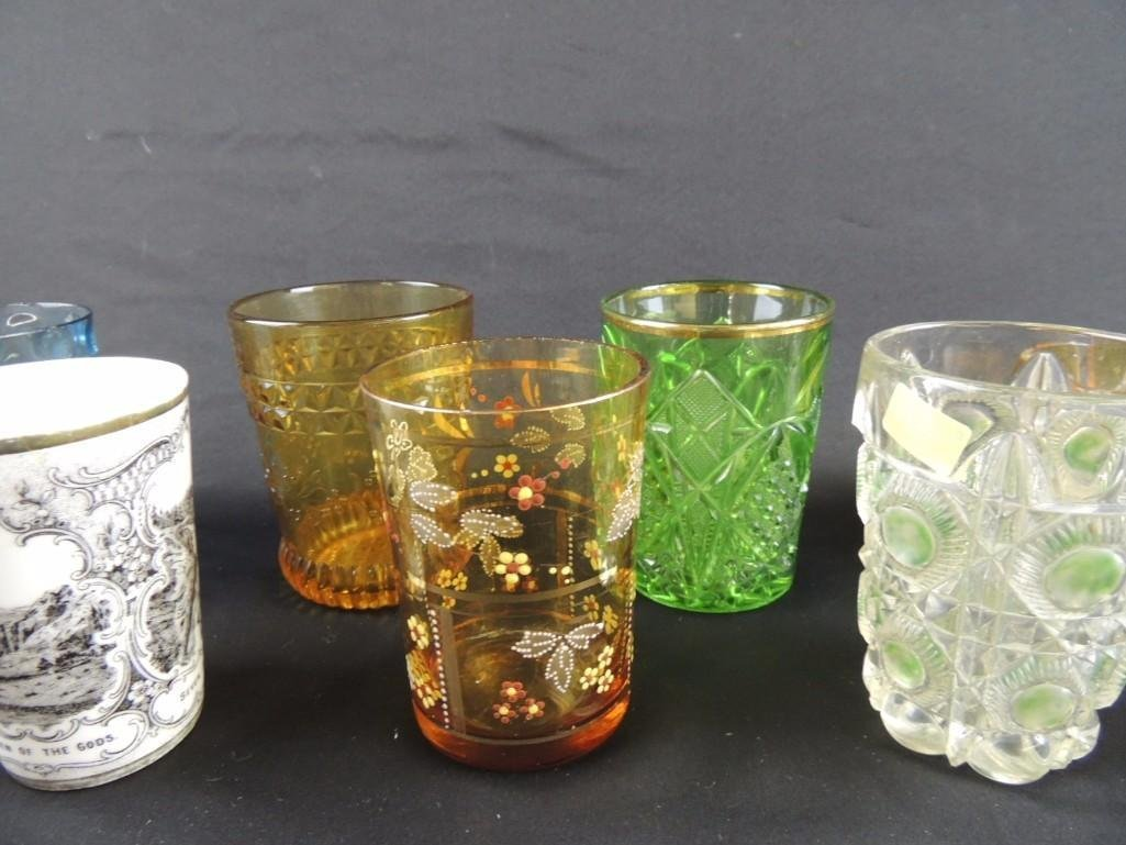 Group of 12 Vintage Glass Tumblers Featuring Coin Dot, - 5