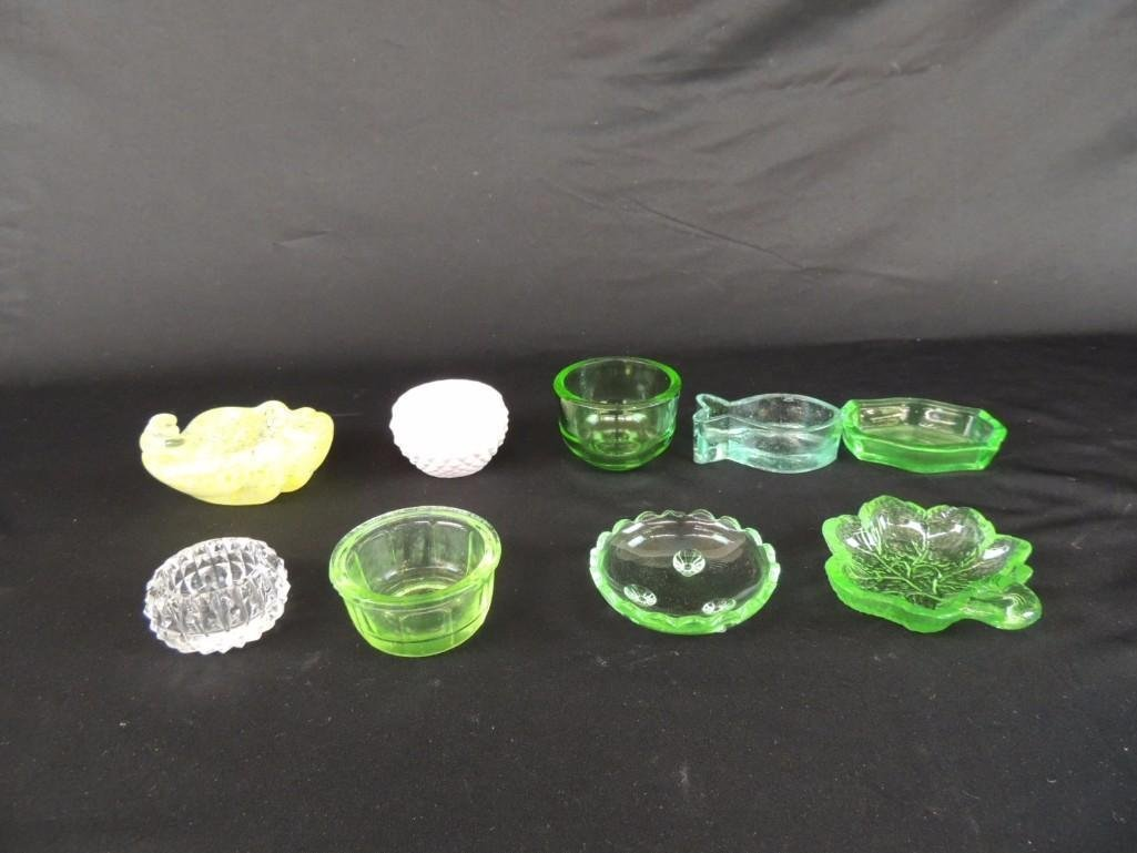Group of 9 Yellow, Green and Pink Glass Salts
