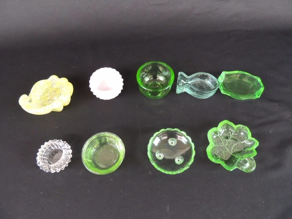 Group of 9 Yellow, Green and Pink Glass Salts - 2
