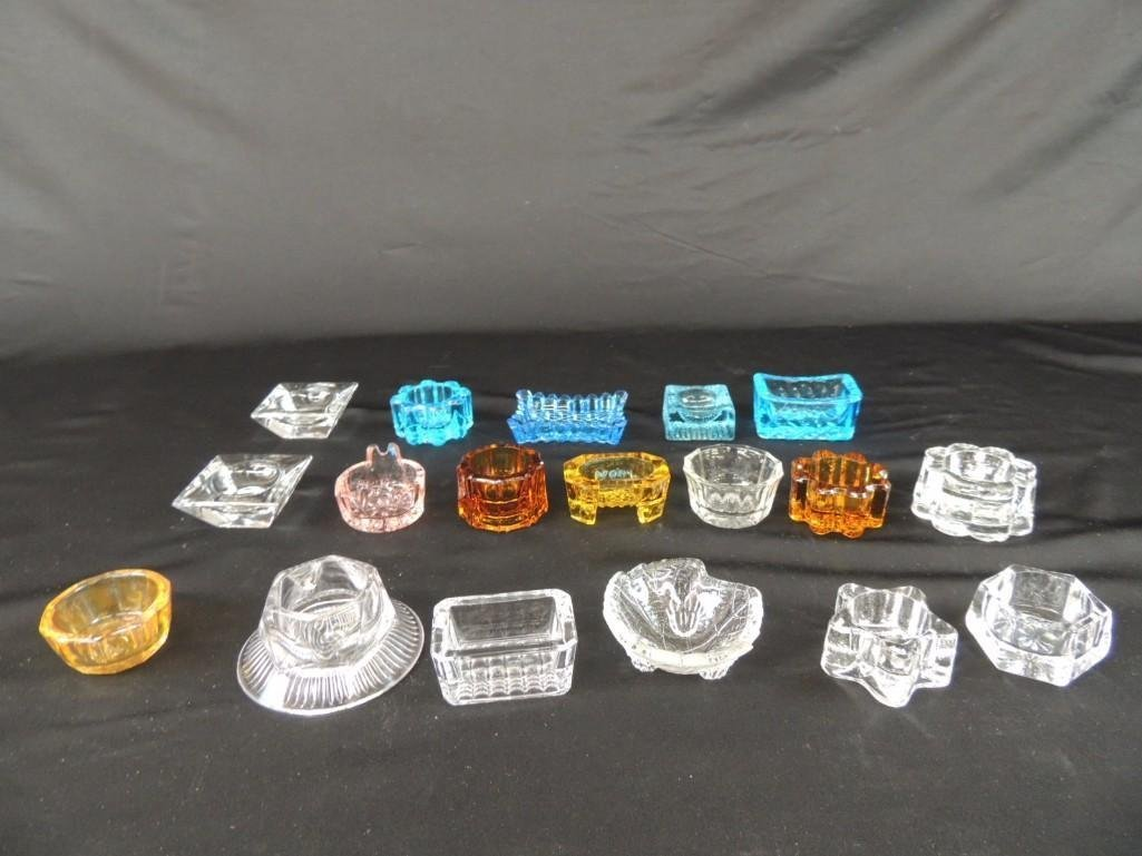 Group of 18 Blue, Amber, and Clear Glass Salts