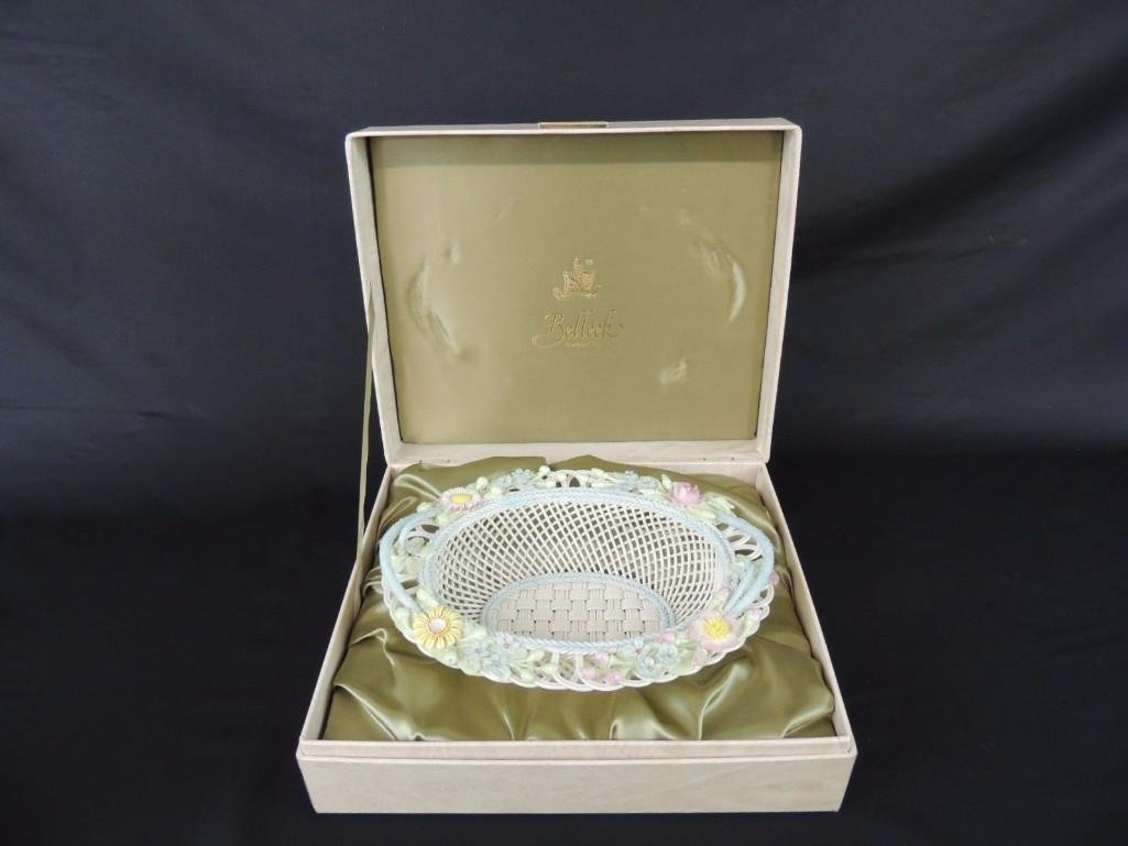 Belleek Floral and Basket Weave Pattern Porcelain Dish