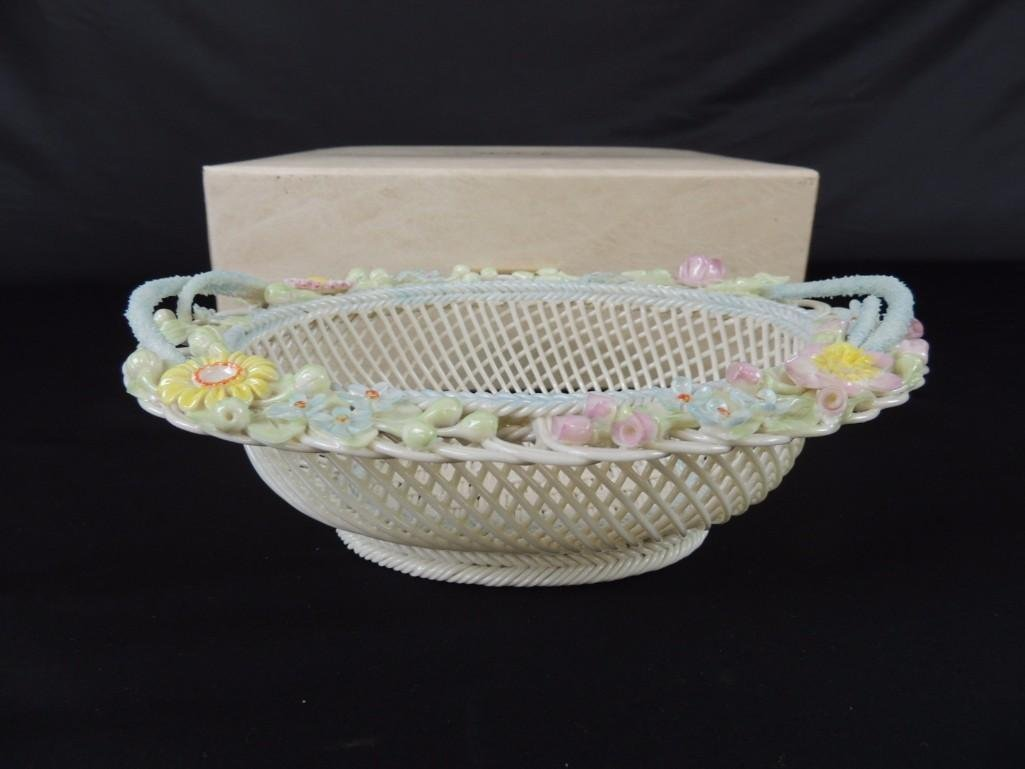 Belleek Floral and Basket Weave Pattern Porcelain Dish - 2