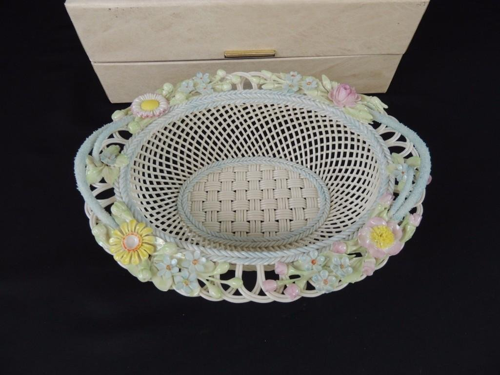 Belleek Floral and Basket Weave Pattern Porcelain Dish - 3