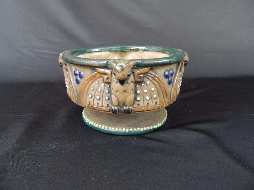 Amphora Owl Pattern Art Pottery Bowl