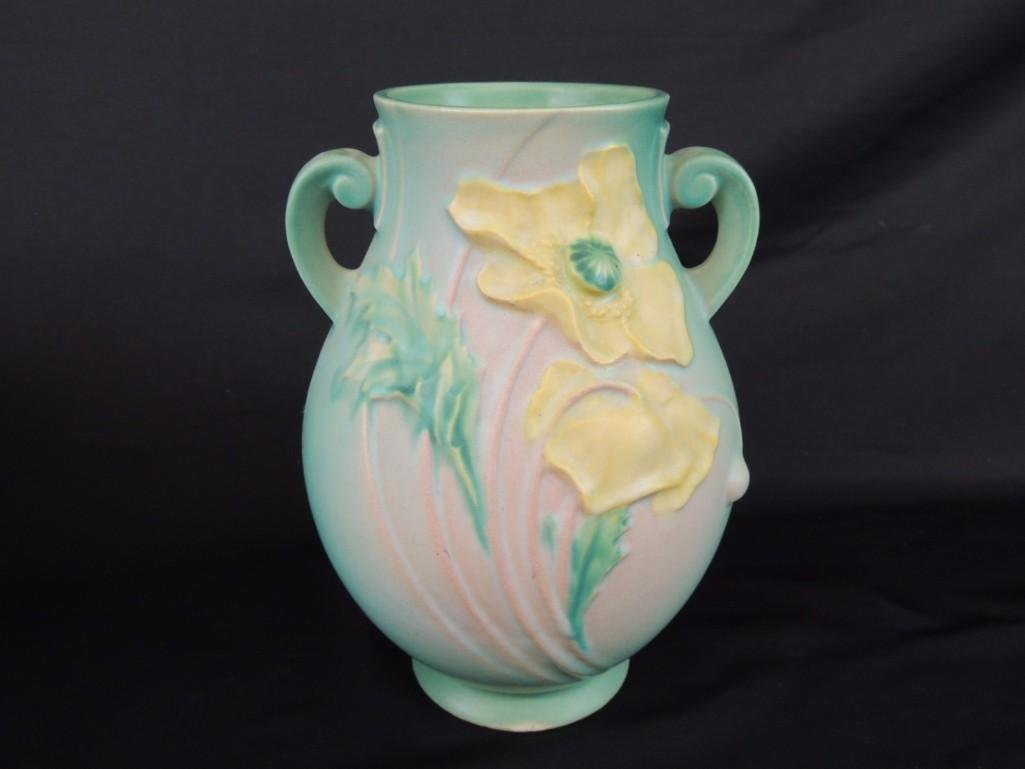Roseville Pottery Green Poppy Handled Vase