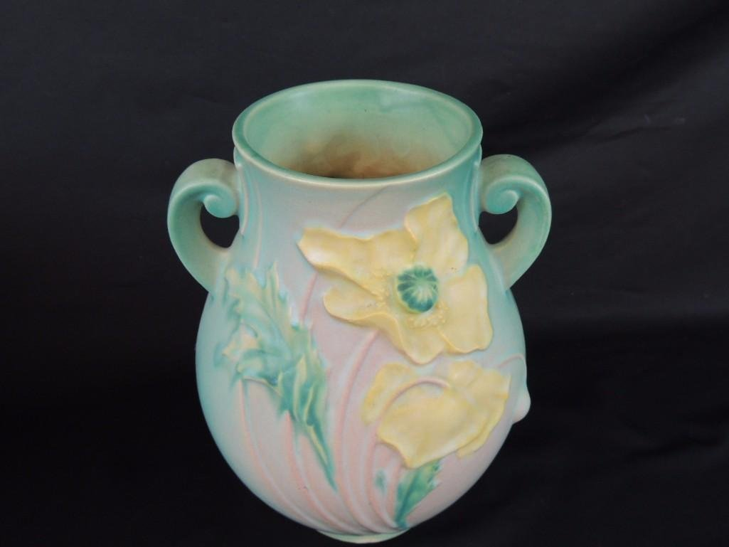 Roseville Pottery Green Poppy Handled Vase - 2