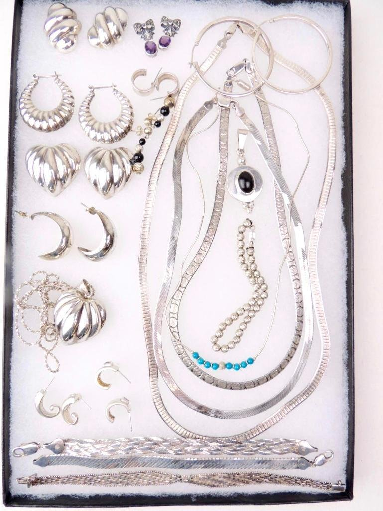 Sterling Silver Mixed Jewelry Lot of 30 Pieces