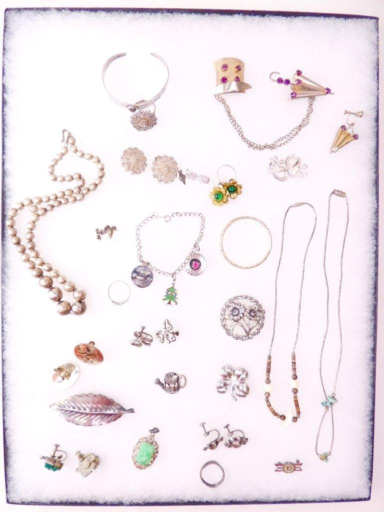 Sterling Silver Mixed Jewelry Lot of 34 Pieces