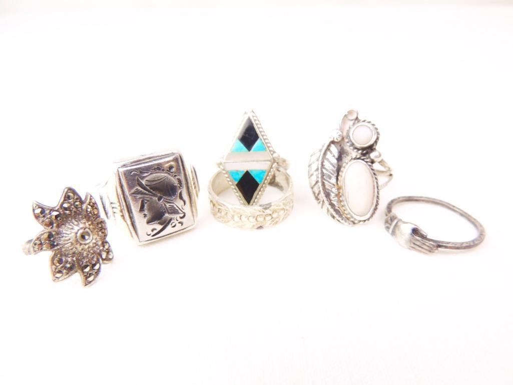 Sterling Silver Rings Lot of 6