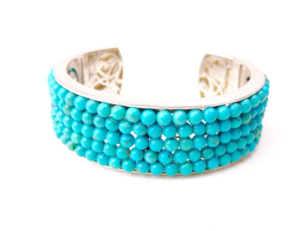 Sterling Silver & Turquoise Bead Cuff