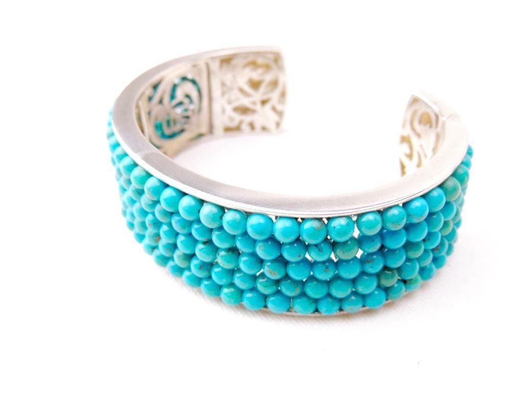 Sterling Silver & Turquoise Bead Cuff - 2