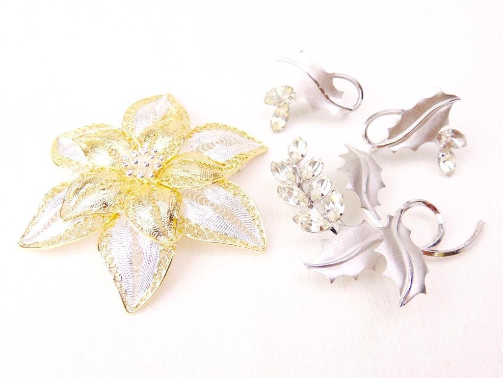 Pair of Sterling Silver Brooches & Earrings