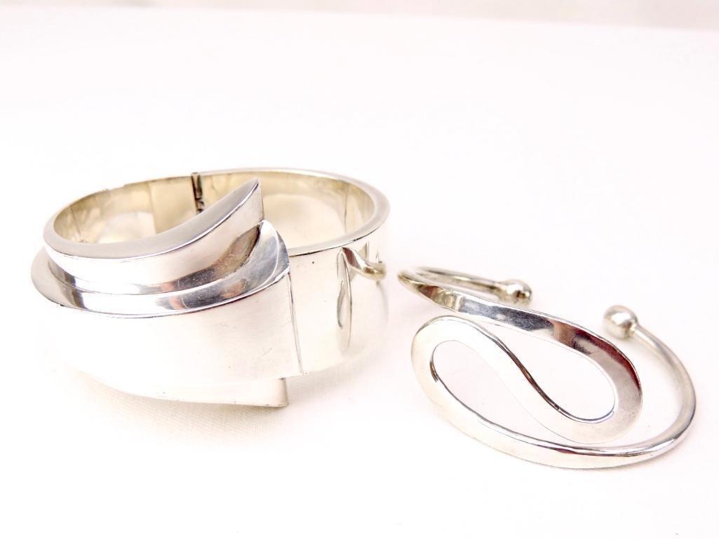 Lot of 2 Sterling Silver Taxco Bangle Bracelets