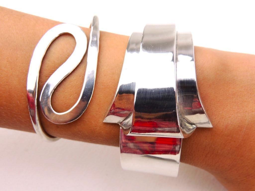 Lot of 2 Sterling Silver Taxco Bangle Bracelets - 4