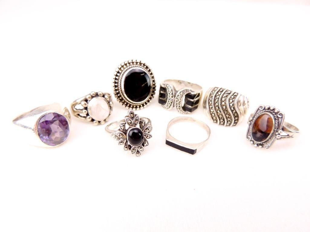 Sterling Silver Rings Lot of 8