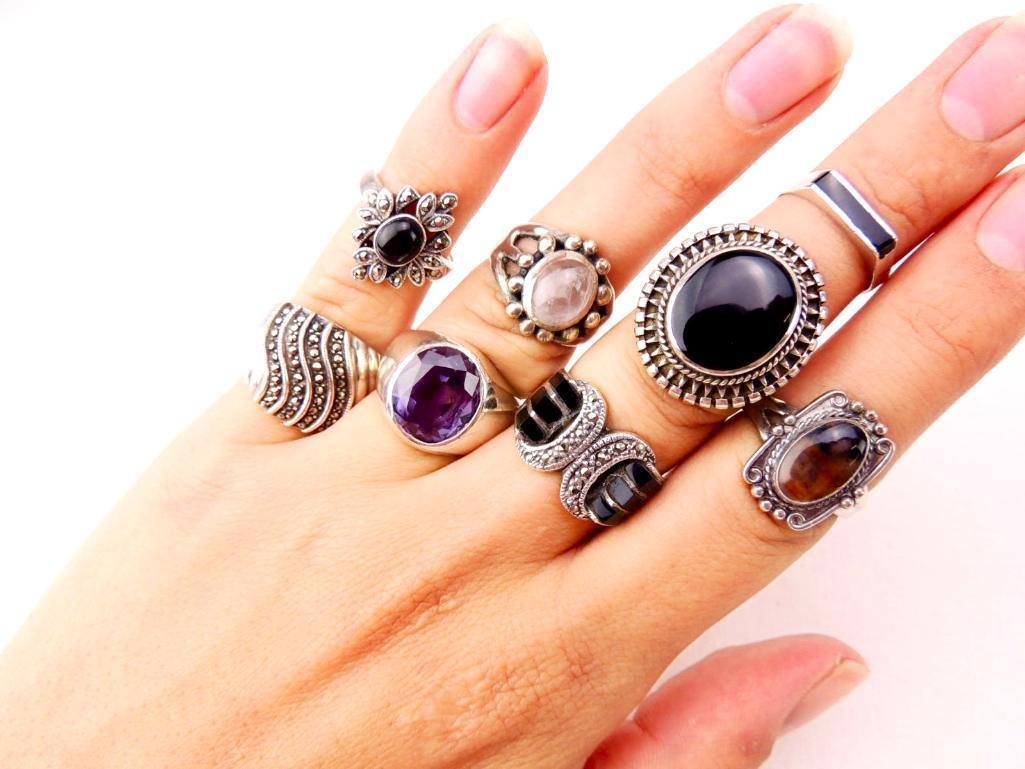 Sterling Silver Rings Lot of 8 - 2