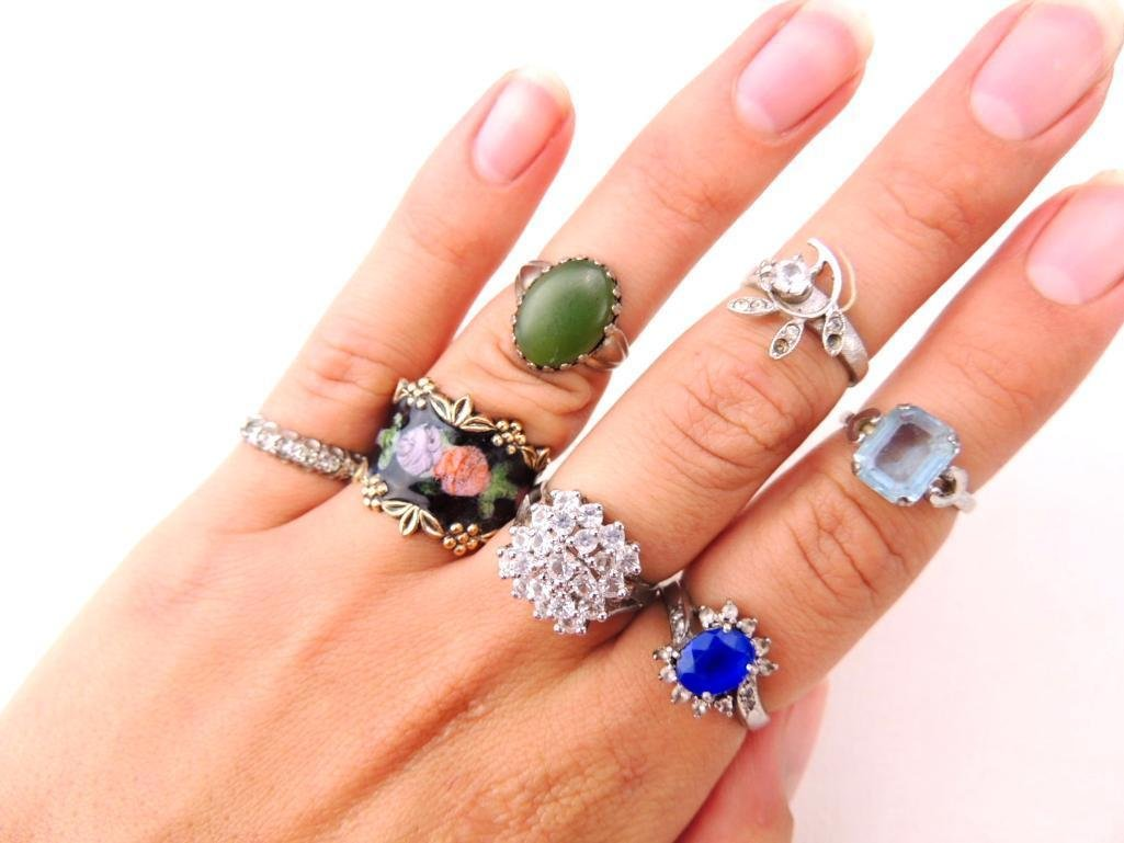 Lot of 7 Sterling Silver Rings - 2