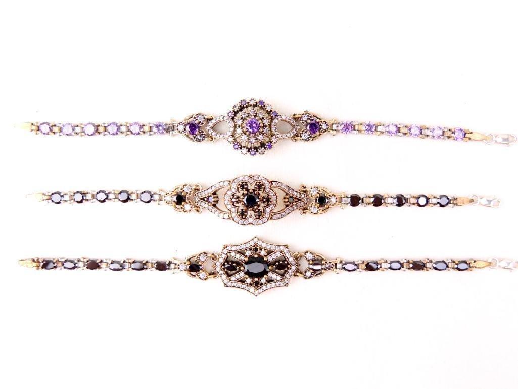 Lot of 3 Sterling Silver & Gemstone Bracelets