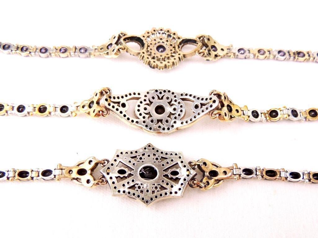 Lot of 3 Sterling Silver & Gemstone Bracelets - 2
