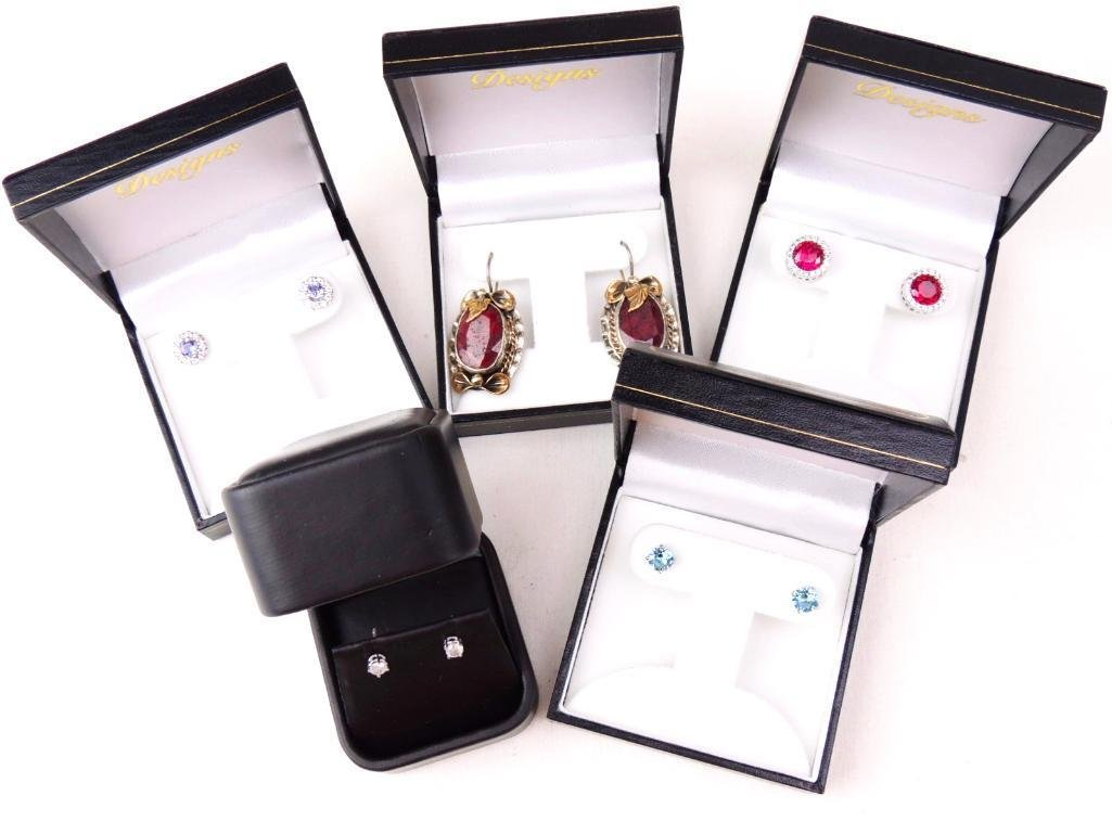 Sterling Silver & Gemstone Earrings Lot of 5 pairs