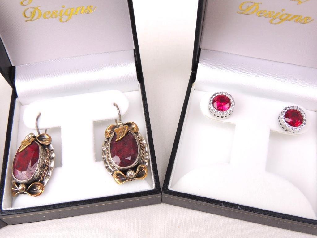 Sterling Silver & Gemstone Earrings Lot of 5 pairs - 2