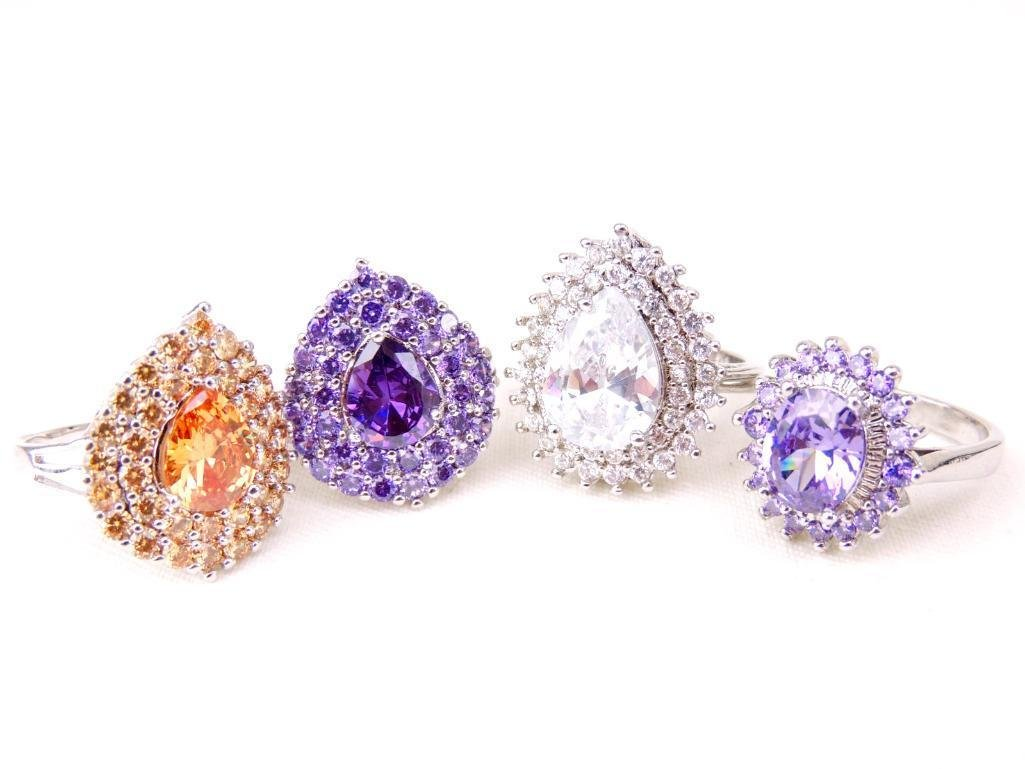 Lot of 4 Sterling Silver & Gemstone Rings