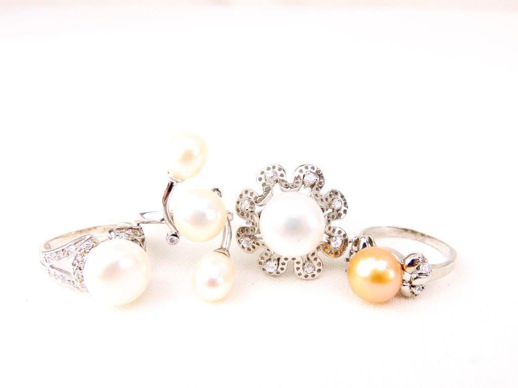 Group of 4 Sterling Silver & Cultured Pearl Rings