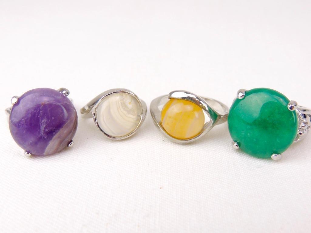 Sterling Silver & Gemstone Rings Lot of 4