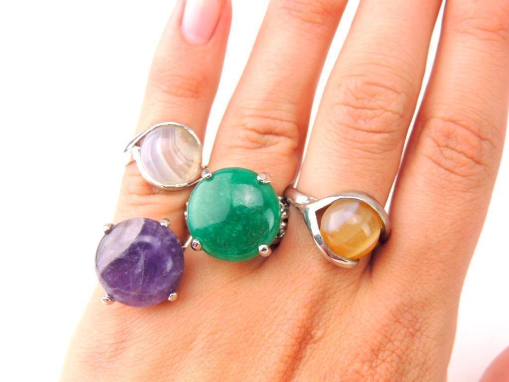 Sterling Silver & Gemstone Rings Lot of 4 - 2