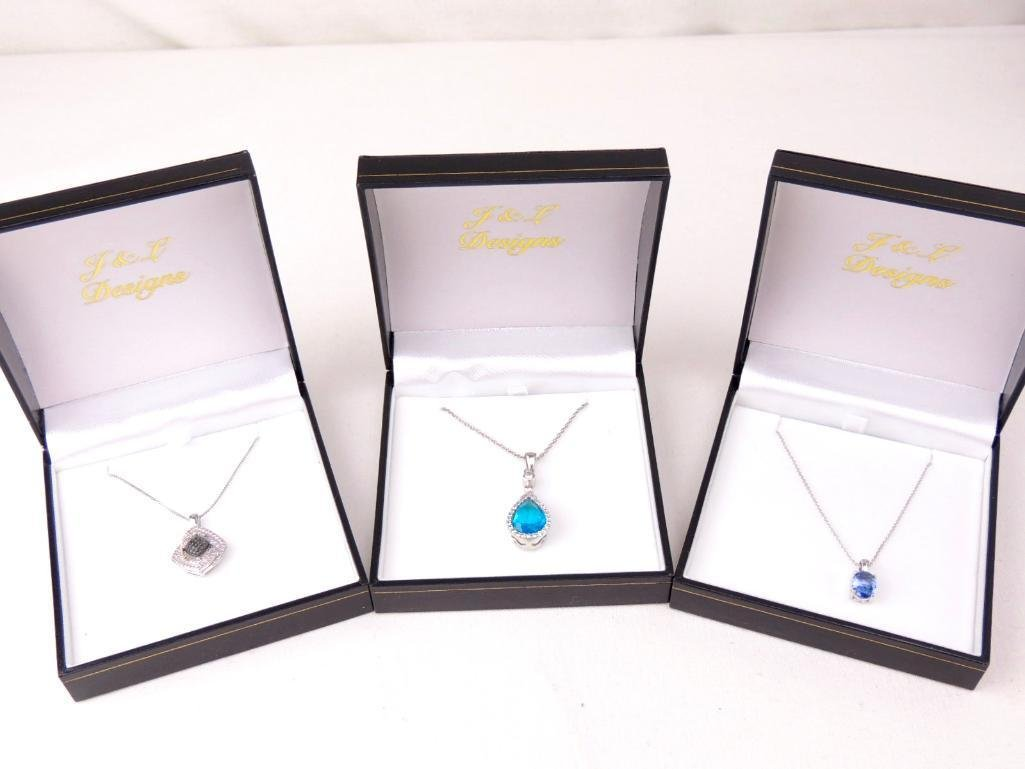 Group of 3 Sterling Silver & Gemstone Necklaces