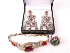 Group of 3 Sterling Silver & Gemstone Jewelry