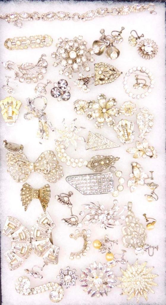 Group of Vintage & Art Deco Rhinestone Jewelry