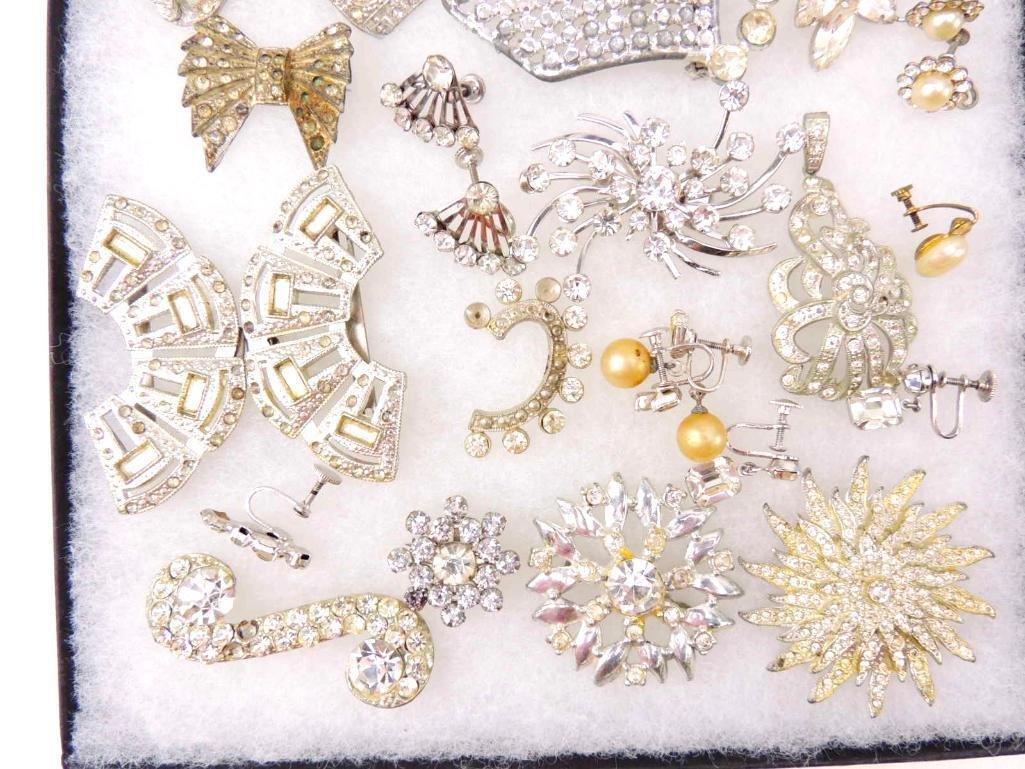 Group of Vintage & Art Deco Rhinestone Jewelry - 2