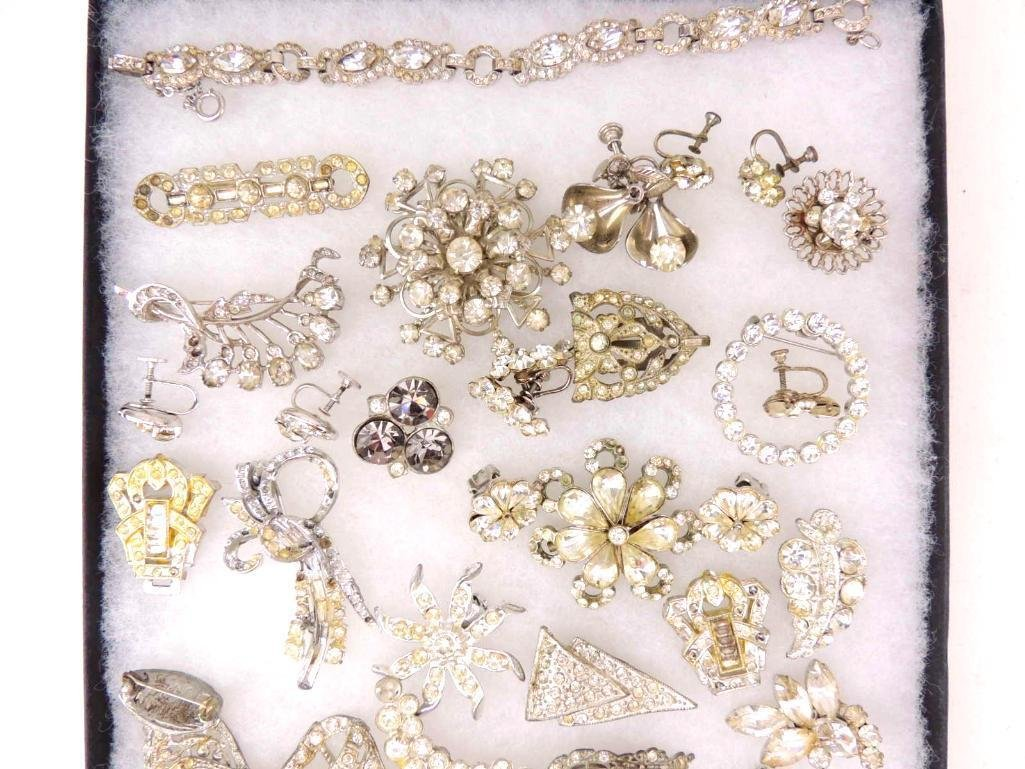 Group of Vintage & Art Deco Rhinestone Jewelry - 3