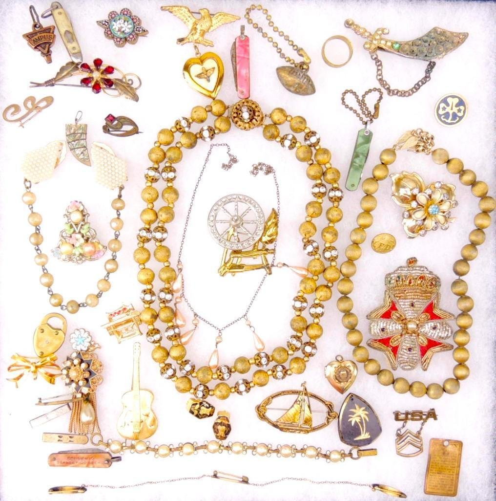 Group of Vintage Gold Tone Costume Jewelry