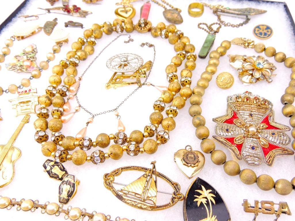 Group of Vintage Gold Tone Costume Jewelry - 2