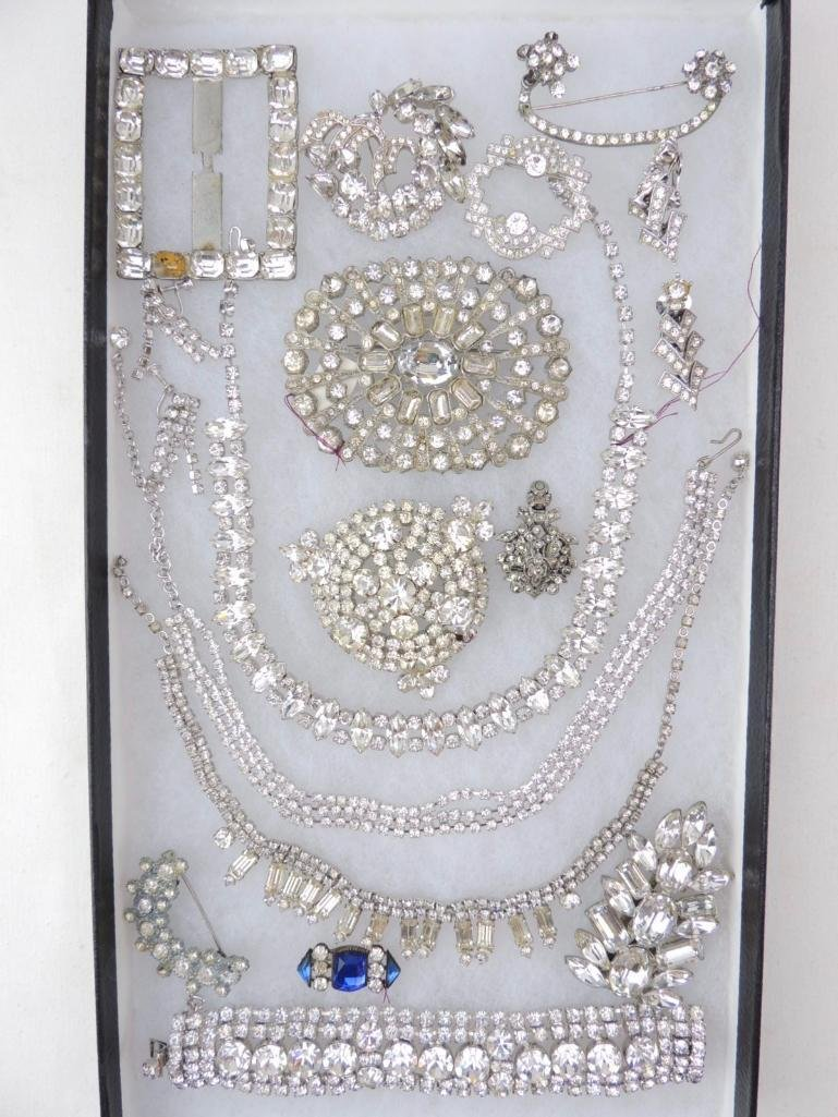 Group of Vintage Rhinestone Costume Jewelry