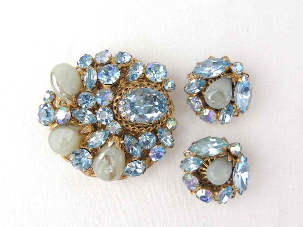 Vintage Signed REGENCY Costume Brooch & Earrings Set