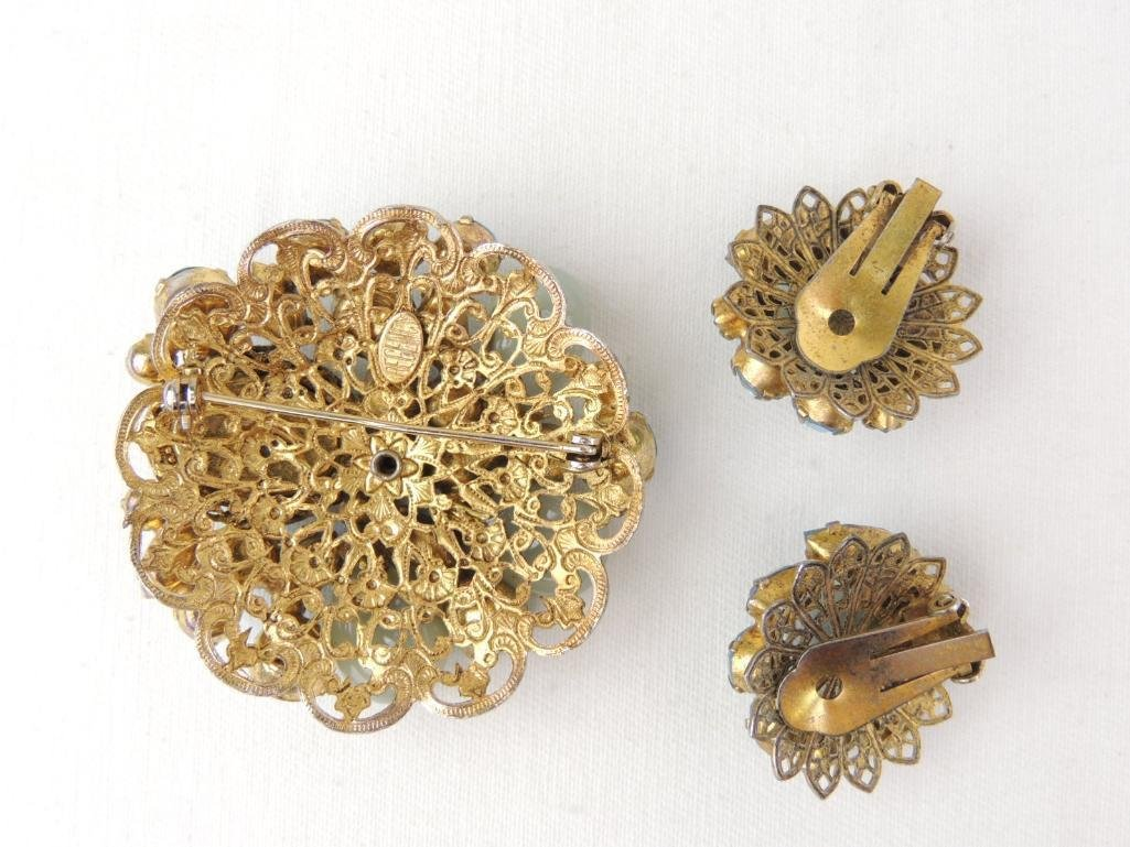 Vintage Signed REGENCY Costume Brooch & Earrings Set - 2