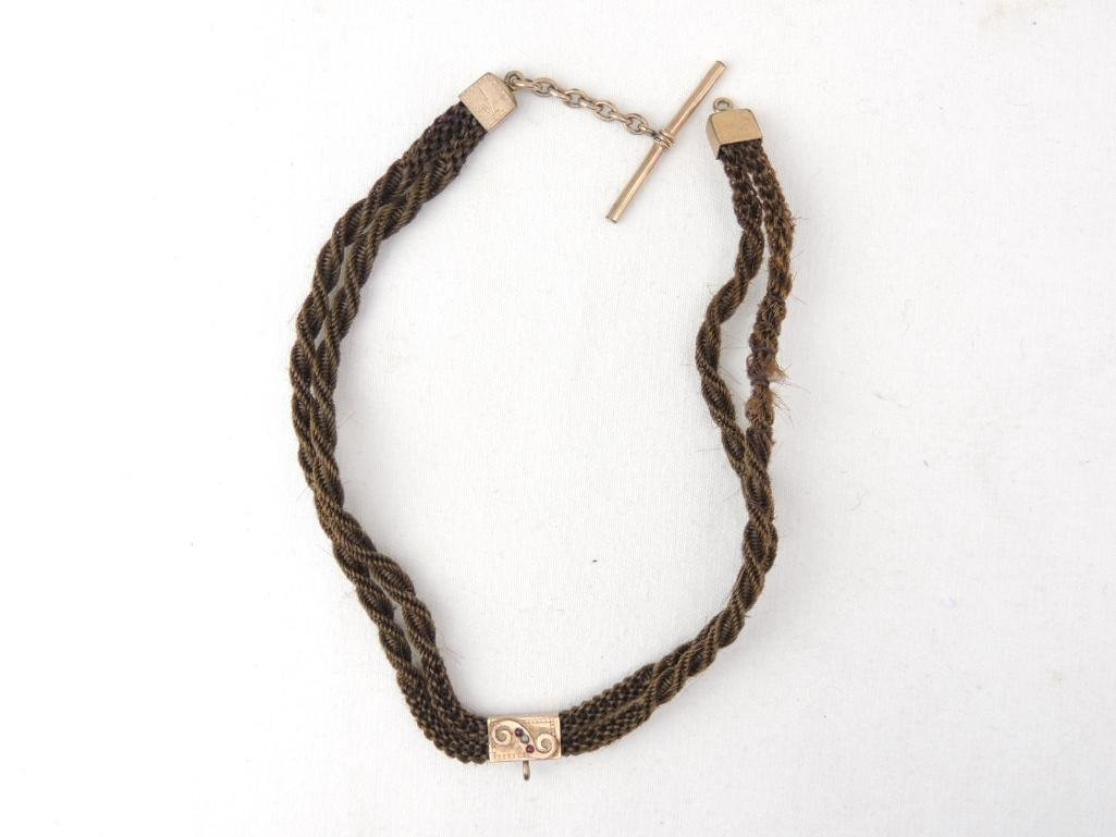 Victorian Mourning Braided Hair Choker Necklace