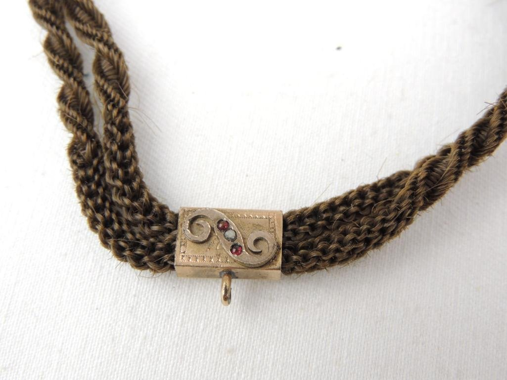 Victorian Mourning Braided Hair Choker Necklace - 2