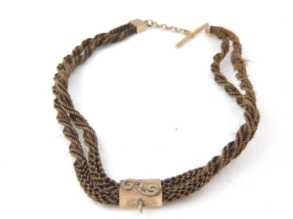 Victorian Mourning Braided Hair Choker Necklace - 4