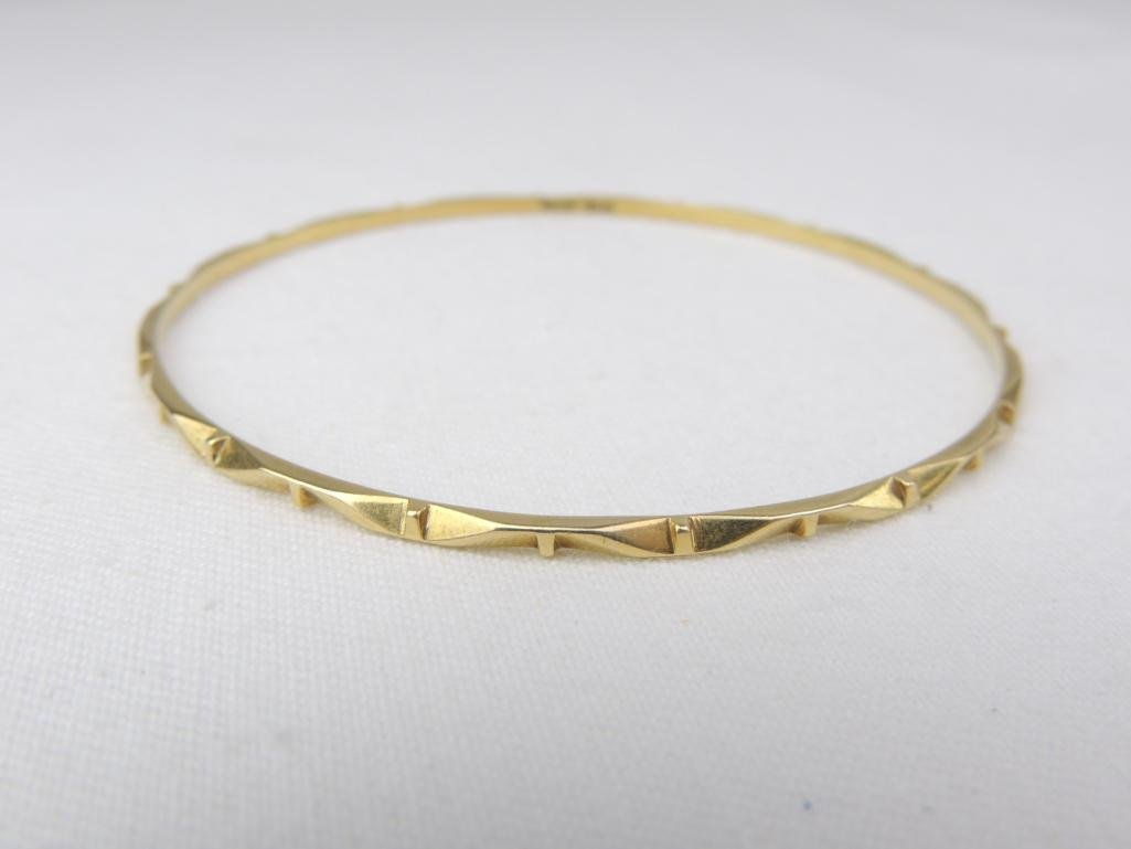 18k Yellow Gold Bangle Bracelet - 2