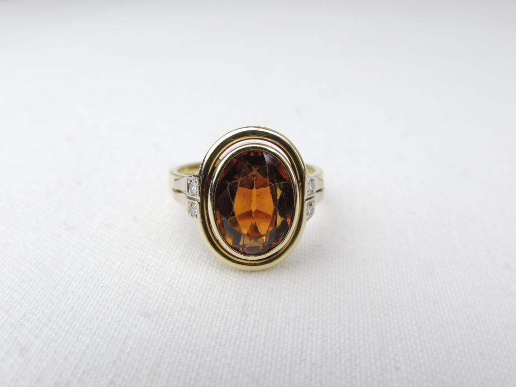 14k Yellow Gold Orange Tourmaline/Diamond Ring